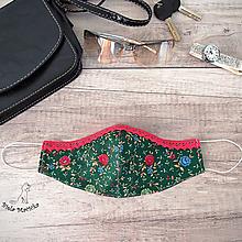Rúška - Dámske tvarovateľné rúško - po bradu, s postriebreným drôtikom, zelená a melónová, kvietky - 11788815_