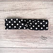Ozdoby do vlasov - Elastická čelenka bodkovaná, biele bodky, čierna, retro (dospelá žena) - 11789551_