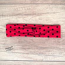 Ozdoby do vlasov - Elastická čelenka bodkovaná, čierne bodky, červená, retro - 11790381_
