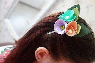 Ozdoby do vlasov - Kvietková sponka - 11789345_