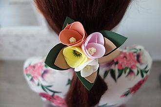 Ozdoby do vlasov - Kvietková gumička - 11789371_