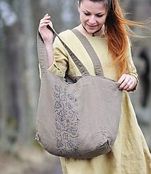 Veľké tašky - Velká lněná hnědobéžová s tiskem - 11791856_