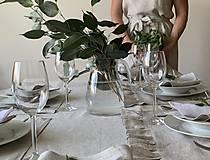 Úžitkový textil - Ľanová štóla s fodričkou - 11791608_