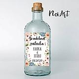 Nálepky na svadobné fľaše kvietky