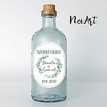 Darčeky pre svadobčanov - Nálepky na svadobné fľaše zelený venček - 11792929_