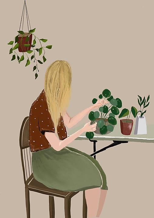 S rastlinami ilustrácia / reprodukcia