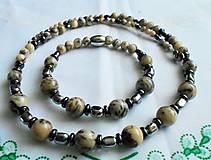 Sady šperkov - Energia z prírody pre pánov (Nemagnetický hematit - achát) - 11793938_