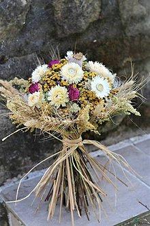 Dekorácie - Sušená kytica s ružami - 11793259_