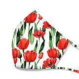 Rúška - DIZAJNOVÉ RÚŠKO trojvrstvové/s tunelom na drôtik/s vreckom na filter (Tulipány na bielej) - 11793229_