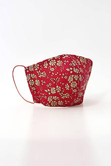 Rúška - Dámske kvetinové červené dvojité rúško z ľanu a bavlny - 11794399_