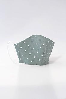 Rúška - Dámske bodkované dvojité rúško mentolovej farby - 11795679_