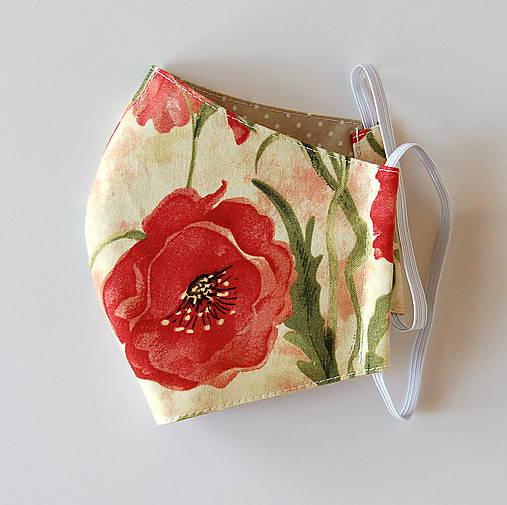 Rúško dámske - Béžové s červenými makmi