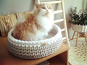 Pre zvieratká - Háčkovaný pelech HYGGE pre mačičku - 11794157_