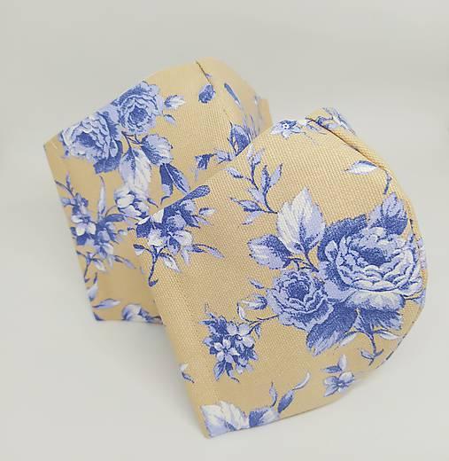 Rúško modré kvetinové trio