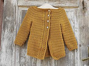Detské oblečenie - Horčicový kardigán na gombíky - 11797082_