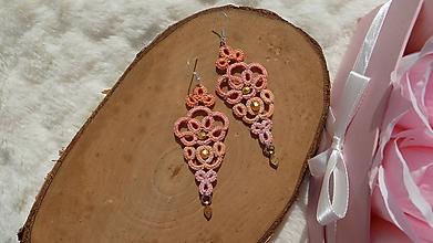 Náušnice - Náušnice s čipkou oranžové - 11794534_