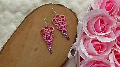 Náušnice - Náušnice s čipkou ružové - 11795992_