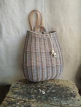 Batohy - Prútený ruksak (Látka ľan nebielený-šedý) - 11794799_