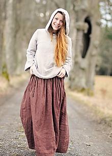 Sukne - Maxi sukně lněná hnědá - 11797114_