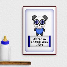 Detské doplnky - Roztomilé zverky - grafika k narodeniu dieťaťa džungľa/safari (panda) - 11794679_
