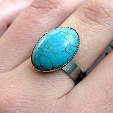 Prstene - ZĽAVA 75% Tyrkenite Ring / Prsteň s tyrkenitom v platinovom prevedení - 11798389_