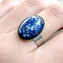 Prstene - ZĽAVA 45% Lapis Lazuli Ring / Prsteň s lazuritom v platinovom prevedení - 11798421_