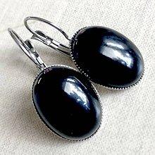 Náušnice - Black Agate French Clasp Earrings / Náušnice s čiernym achátom v platinovom prevedení /2053 - 11799443_