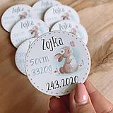 Magnetky na pamiatku s dátumom narodenia a menom dieťatka zajko