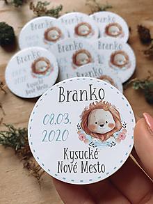 Detské doplnky - Magnetky na pamiatku s dátumom narodenia a menom dieťatka levík - 11799356_