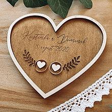 Prstene - Tanierik na obrúčky srdiečko - 11800429_