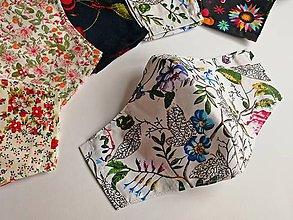 Rúška - Dámske / dievčenské tvarované RÚŠKO s drôtikom - 2 vrstvy (Veľké kvety) - 11801606_