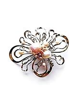 "Odznaky/Brošne - Brošňa B8P ""Květ s mořskou perlou"" perly exkluziv - 11801470_"