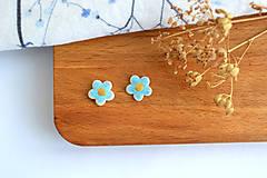 Náušnice - Porcelánové náušnice Modré kvietky - 11801264_