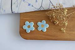 Náušnice - Porcelánové náušnice Modré kvietky - 11801278_