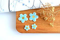 Náušnice - Porcelánové náušnice Modré kvietky - 11801279_