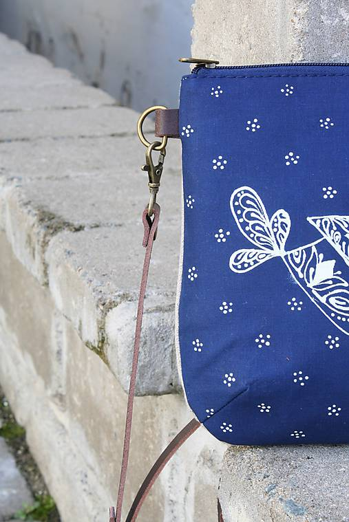 modrotlačová kabelka Ria natur  VTÁČIK AM3