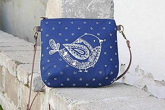 Kabelky - modrotlačová kabelka Ria natur  VTÁČIK AM3 - 11797885_