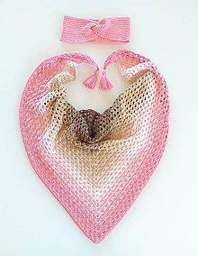 Šatky - Trojuholníková šatka a čelenka - 11801768_