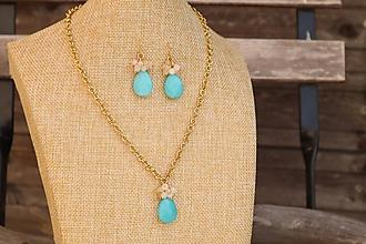 Sady šperkov - Súprava náušnice a retiazka z nerezu a minerálom jadeit - 11799429_