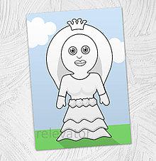 Hračky - Predvyfarbená omaľovánka - princezná Tímea - 11799485_