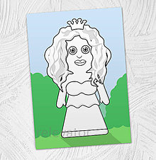 Hračky - Predvyfarbená omaľovánka - princezná Rozália - 11799494_