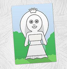 Hračky - Predvyfarbená omaľovánka - princezná Nika - 11799499_