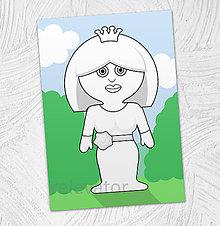 Hračky - Predvyfarbená omaľovánka - princezná Denisa - 11799511_