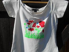 Tričká - červené maky-romantic summer-tričko - 11807436_