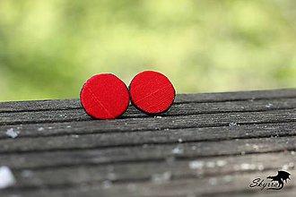Náušnice - Hodvábne bodky - červené - 11805142_