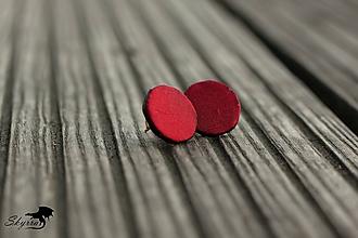Náušnice - Hodvábne bodky - vínové - 11806915_