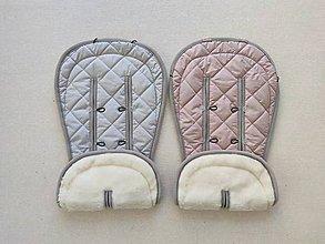 Textil - Bugaboo Donkey Twin seat liners / podložky pre dvojičky 100% MERINO pastel Grey and Dusty Pink - 11804388_