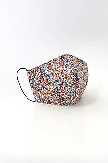 Rúška - Dámske kvetinové rúško dvojité z ľanu a bavlny - 11804503_