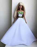 Hračky - Svadobné šaty so zelenou mašličkou pre Barbie - 11807617_