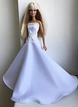 Hračky - Svadobné šaty s béžovou krajkou pre Barbie - 11807622_